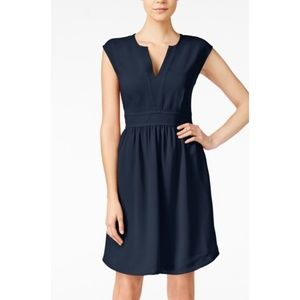 Maison Jules Navy Cap Sleeve Split Neck Sheath